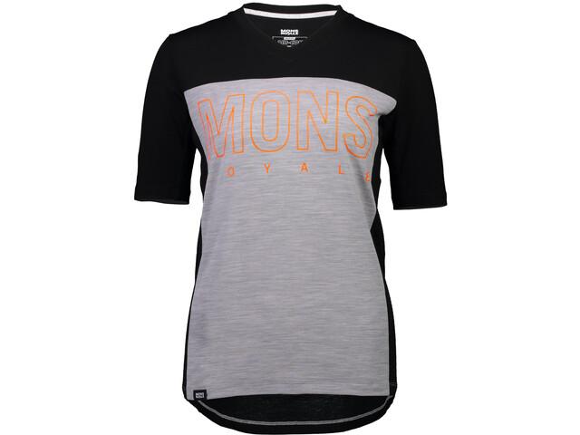 Mons Royale Phoenix Enduro V-Neck T-Shirt Women black/grey marl